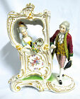 Antique German Porcelain statue figure 1900-1940 white, pink, gold, yellow (#468