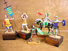 LOT OF 5 METAL TOY KNIGHTS - SOLDIERS - HORSE - ARMOR - MOUNTED ON WOOD - FIGURE
