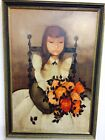 MAGNIFICENT ARTIST SIGNED ORIGINAL OIL PAINTING GIRL WITH FLOWERS FRIK 27 X 39