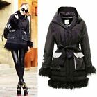 Gorgeous Mongolian Curly Lamb Fur Shearling Puffer Feather Down Coat Hooded belt
