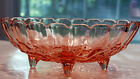 LARGE Pink VINTAGE 1960's Footed OVAL Glass Fruit Bowl 12 x 8.5 inches. PERFECT!