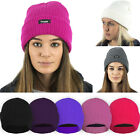 LADIES WOMENS GIRLS WINTER THINSULATE LINED KNITTED BEANIE HAT PLAIN COLOURS