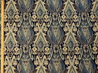 Woven Large Geometric Ikat Medallion navy cream and teal Upholstery Fabric