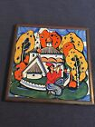 VINTAGE TILE RUSSIAN CULTURES / FOLK ART / HAND-PAINTED / FRAMED