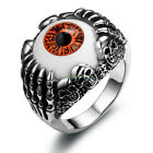 Gothic Red Evil Eye Skull Claws Stainless Steel Ring Mens Boys Band Size 7 12