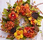 Spring Summer Floral Wreath Primitive Country BLOSSOM FLORAL DOOR WREATH DECOR