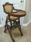 1880s-1890s Wooden Baby High Chair Multi Positional Cane Back Cane Seat *RARE*
