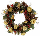 Wreath Summer Faux Silk Yellow Roses & Berry Floral Door Decor Handmade