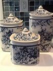 222Fifth Adelaide Blue Bird 3 New Canisters With Lids