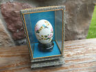 Vintage Chinese Hand Painted Egg Shell Blue Bird In Glass Case