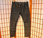 DSQUARED2 KENNY TWIST RAW DRY DENIM LEATHER RUNWAY VINTAGE JEANS PAN