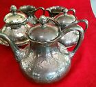 100 + yr PAIRPOINT MFG CO. QUADRUPLE SILVER PLATE tea set 8 pcs. Butter Dish