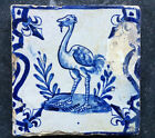 Antique Very Rare Dutch Delft Tile Bird 17th C. Candelabrum