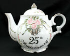 Vintage Lefton China 25th Anniversary Musical Tea Pot w/ Pink Flowers / Roses