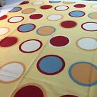 Retro Bloomcraft Circles Twister game Polka Dot Yellow Red Drapery Fabric 2.5 Y