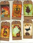12 PRIMITIVE TAGS~On Halloween!~HANG TAGS~folk~Grungy