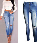 Sexy Women Skinny Denim Jeans Distressed High Waist Pencil Stretch Long Jeggings