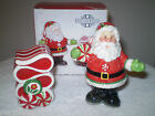 Fitz and Floyd Peppermint Santa Salt & Pepper Shakers ~NIB ~ 2008