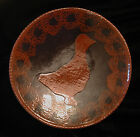 FOLTZ POTTERY REDWARE PLATE WITH GOOSE ARTIST SIGNED REINHOLDS PENN