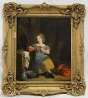 Signed English 19 Century Oil On Panel Painting of Young Girl with Flower (5994)