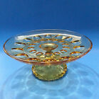 Vintage Light Amber Glass Thumbprint Design Round Pedestal Cake Plate