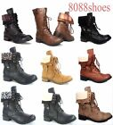Womens Lace Cuff Round Toe Combat Mid Calf Ankle Boots Shoes Size 55 11 NEW