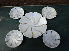 White & Gold Leaf China Set Of 5 Small Trays Sauce Bowls Plates Flower 7933