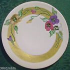 Thomas Bavaria Pansy Flower Ceramic Plate Wide Gold Band Early 1900's Multicolor