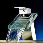 Deck Mount Glass Spout Bathroom Sink Faucet Waterfall One Handle Faucet Mixer