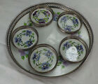 VINTAGE PORCELAIN TRAY & COASTERS PURPLE FLOWERS MADE IN GERMANY