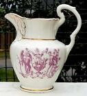 Antique IOOF ODD FELLOWS Pitcher HEART in HAND Father Time BACCHUS Magenta CREST