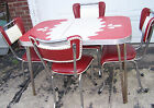 Vintage RED/GRAY FORMICA TABLE w/ 4 VINTAGE RED & WHITE CHAIRS - 1950s - GUC!