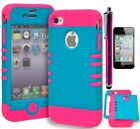 For iPhone 4, Pink Cover & Blue Hard Shell Phone Case+Screen Protector+Stylus