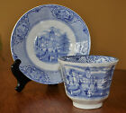 Lovely Antique Ironstone Blue Transferware Cup & Saucer Set Ridgways University