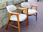 Pair of Vintage Mid Century Modern Danish Leather Chairs Wood Wooden Set of 2