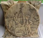 Vtg Wood Hand Embroidery Gibbs Mfg Hoop w Beautiful Girl Boy by Well Tapesty 24