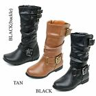 NEW Faux Leather Cute Girls Military Mid Calf Combat Boots Kids Youth WITH BOX