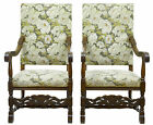 PAIR OF 19TH CENTURY CARVED OAK THRONE ARMCHAIRS
