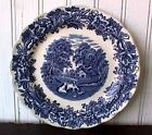 """BRITISH SCENERY BLUE SCALLOPED (1) 7 ½"""" SALAD PLATE BOOTHS ENGLAND-R"""