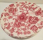 JOHNSON BROS ENGLISH CHIPPENDALE RED/PINK - SET OF 8 DINNER PLATES EUC