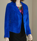 'S Cobalt Blue Fully Lined Short Suede Jacket Chico's Size 1 Medium