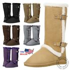 New Womens Mid Calf Twin Buckle Winter Snow Fur Faux Suede Fashion Boots