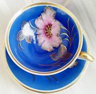 Saucer, White, Blue, Pink, Floral, Gold Trim