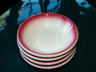 Vtg Set 4 Homer Laughlin Pink/Red AIR BRUSHED Restaurant Ware BERRY BOWLS