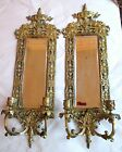 2 RARE FRENCH ANTIQUE GOLD GILT BRASS SCONCES PAIR 1910 VICTORIAN ORNATE CANDLES