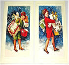 1920's RETRO GIRLS CHISTMAS CARDS MINT Condition B. Shackman We Ship worldwide!