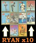 Complete 1993 Whataburger Triad Nolan Ryan Recollections 10 card set