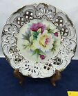Hand Painted Floral Flowers Roses Collectors Plate Dish Lefton KF266 Vintage  b