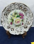 Hand Painted Floral Flowers Roses Collectors Plate Dish Lefton KF266 Vintage  a