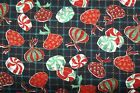 Vtg  J Kessler Christmas Candy Print Fabric Black Red Green Cotton W- 44